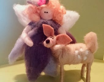 Fairy and Fawn Felted Wool Ornament- NEW for 2017