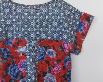 rosy...loose fit ladies shift in vintage and retro print cotton