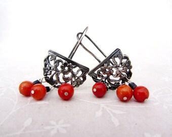 Oxidized sterling silver flower lace earrings, Floral dangle earrings, dangle red coral earrings