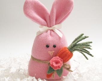 Pink Easter Bunny Rabbit Easter Basket Filler Decoration Woodland Nursery Decor Woodland Stuffed Animal Plush Forest Animal 870