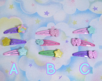 Fairy kei snap clip sets - Polymer clay decora pastel hair accessories