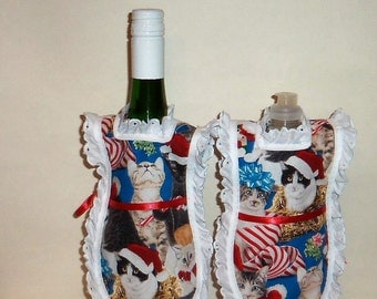Detergent Cover, Wine Bottle Apron, Dish Soap, Bottle Cozy, Holiday Christmas, Kitties, Cat Lover, Eyelet Lace, Kitchen Decor