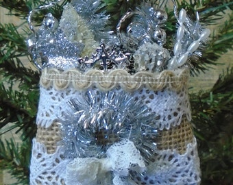 FOUR Shabby Chic Burlap Lace Silver Christmas Ornaments, Gift Tags, Small Gifts, Sewing Club, Quilting