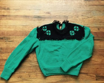 Lucky Clover Sweater - Hand Knit from a 1940's British Knitting Pattern