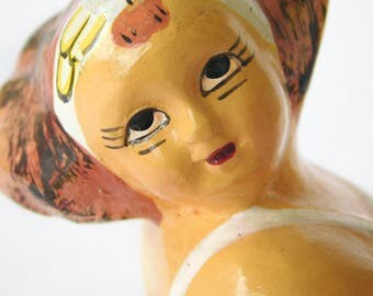 """Vintage Expressive Fat Ballerina Chubby Girl in a tutu , Dancer Painted Plaster Figurine made in the Philippines Late 1970/80s , 5"""" tall"""
