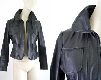 Condor Vintage Black Leather Woman's Moto Jacket