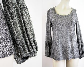 Silver Thread Loose Fit Puff Elastic Sleeve Woman's Vintage Blouse