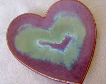 Purple Merlot, Blue Green Ceramic Heart Dish, Jewelry Holder, Ceramic Catch All, Heart Dish, Wedding Gift, Ring Dish, Jewelry Storage