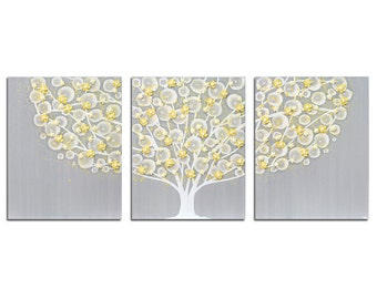 Gray and Yellow Nursery Wall Art - Textured Tree Painting on Triptych Canvas - Large 50x20