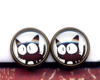 Cat Clip On Earrings, Clip on Black Cat Earrings, Clip Kitty Earrings, Cat Earrings, Cat Clips Earrings, Kitty Calico earrings by annaart72