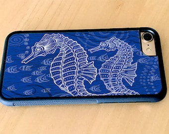Seahorses One Color Blue Rubber iPhone 5/5s, iPhone 6/6s, iPhone 6 Plus, iPhone 7, iPhone 7 Plus