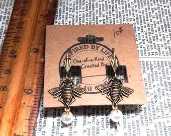 Brass Ox Honey Bee Pair Glass Pearl Cute Earrings