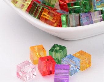 Cube Bead Mix - Acylic - 7mm - 100 piece - #ACR288