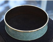 Reserve for Stella. On sale Pretty Vintage Soft Green, Gold tone Bangle Bracelet