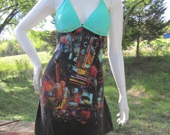 Abstract cityscape t shirt bikini dress