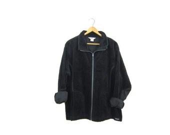 Black Corduroy Jacket Zip Up 90s Grunge Rib Shirt Thick Ribbed Cropped Coat with Pockets 1990s Vintage Women's Large XL petite