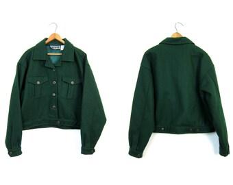 Vintage Green Wool Jacket Army Inspired Field Jacket Cropped Cargo Commando Utility Jacket Crop Coat Grunge Womens Large XL