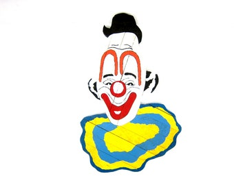 Vintage large Clown Head Circus decor wall hanging Face Plaque Hand Painted Folk Naive Art Kitschy Wall Hanging