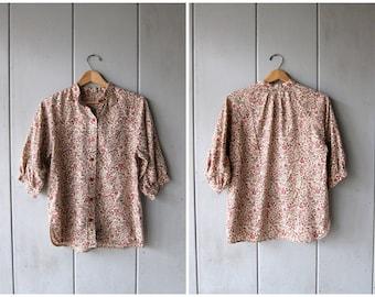 70s Floral Blouse Button Up Festival Shirt Bohemian Boho Shirt COLLARLESS Gypsy Top 1970s Hippie Peasant Shirt Short Sleeve Top Medium