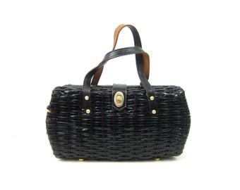 Vintage Black Woven Purse Top Leather Handle Purse Womens Nantucket Bag with Leather straps Picnic basket handbag Tote