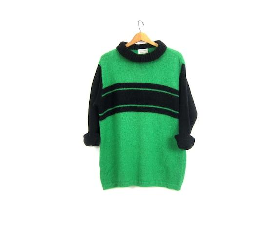 80s Benetton Sweater Long retro  Colorblock Pullover Tunic Slouchy Cowl Neck Green & Black Stripe Knit JUMPER Women's Large