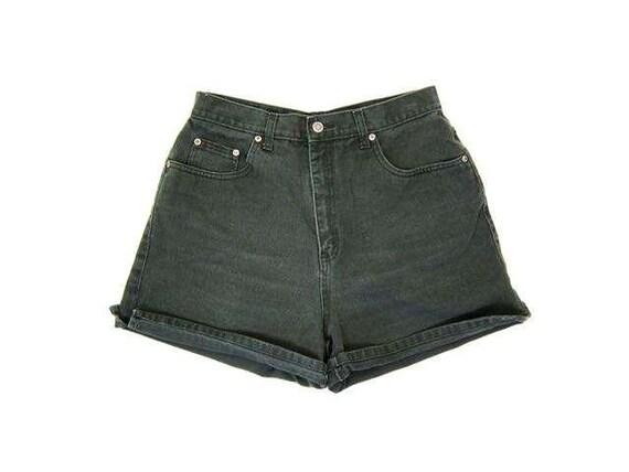 Vintage Dark Green Jean Shorts 90s High Rise Denim Shorts High Waist Shorts Roll Up Mom Shorts Summer Shorts DES Womens Medium