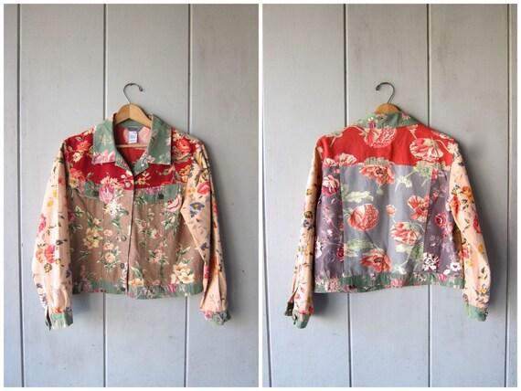 90s Floral Jacket Vintage Cropped Patchwork Coat Pink Green Flowers Revival Boho Spring Jacket Thin Denim Jacket DES Womens Medium
