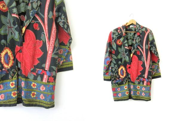 BOHO Floral Print jacket graphic Slouchy Cotton Suit Overcoat Vintage Blazer Coat Colorful Black Flower Pattern DES Womens size Small