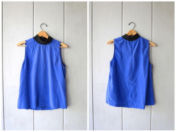 90s Silk Tank Top Sleeveless Blue Blouse Loose Fit Minimal Top Modern Sporty Tank Mock Neck Basic Casual Silk Top Vintage Medium Small