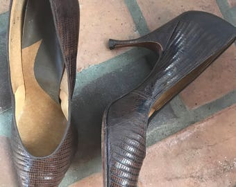 1960s Vintage Lizard Leather Pointy Toe Shoes Heels  9