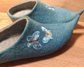 Turquoise butterfly. US8-8.5 home shoes felted slippers Natural wool felt, handmade felt 100% wool