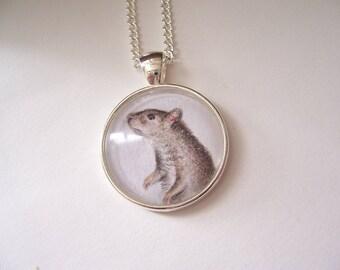 Wearable art necklace, Rat art pendant, original animal drawing, miniature pet portrait, Pet Rat Gift, Silver Pendant necklace