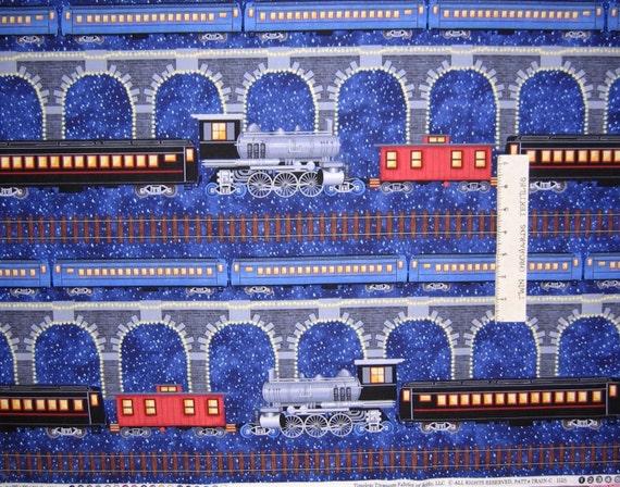 Christmas fabric polar express train stripe timeless for Train fabric by the yard