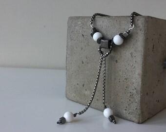cube pendant white & gunmetal