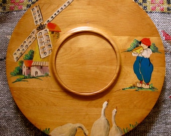 Vintage Dutch Windmill Platter,  Windmill  Boy Ducks Wood Platter,  Holland Windmills on Wood Placque, Dutch Wood Placque, dutch windmill