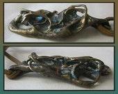 BRUTALIST Verdigris-Bronze Pendant on Leather Cord,Weighty/Sculptural/Textured/Distressed Necklace,Vintage Jewelry,Unisex