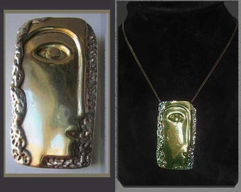 SCULPTOR Ruth Bloch Modernist Woman Face Pendant/Brooch,Sterling Silver with Gold Wash,Israel,Vintage Jewelry,Women