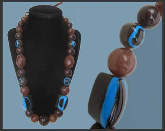 TIE One On, Beautiful Resin Bead Necklace, Browns and Blues, Beaded Necklace, Modern Beads, Leather Tie Closure, Vintage Jewelry, Women
