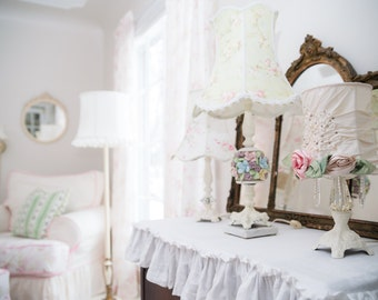 Vintage Lamp & Shade * Shabby Chic * Cottage * Roses * As Seen In ROMANTIC HOMES