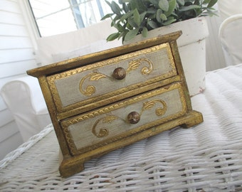 Vintage Florentine Box * Gilded * Made in Italy * French Cottage