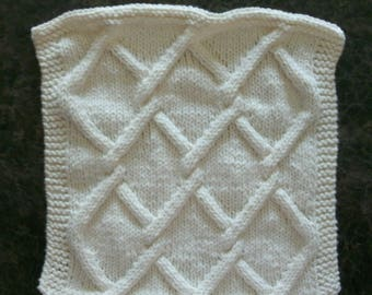 Hand Knit Dishcloth - Color is called Soft Ecru - measures approximately 9x10 inches