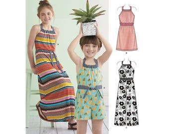 GIRLS CLOTHES PATTERN! Summer Romper - Halter Dress / Two Lengths / Sizes 3 to 6 or 7 to 14