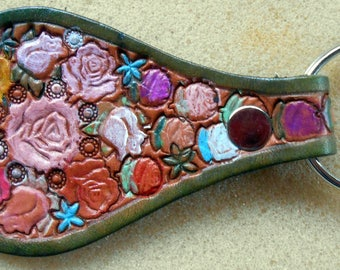 Leather Key Fob with Roses with Green Border Made in GA USA