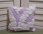Chenille, lavender sachet, remember grandma's bedspread?...it's back!.. upcycled as a scented drawer sachet, filled with 100% dried lavender