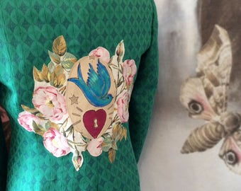 SALE Boho jacket gypsy boho bohemian festival clothing swallow romantic  boheme spring 2017 vintage roses size 38 chest coupon code RGCSALE