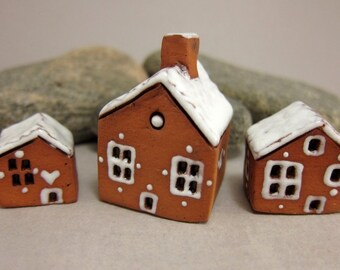 Gingerbread Cottage...Set of Three...Miniature Terracotta Houses from elukka