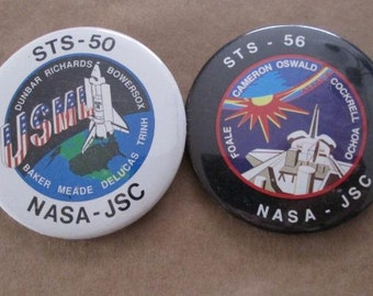NASA Space Shuttle Mission Pinback Buttons STS-50 STS-56