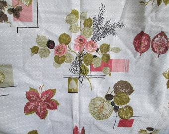 Vintage Pinch Pleat Curtain Panels  Roses Print Corals Olives on Bright Off White