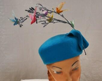 Robin's Egg Blue Pillbox with Tiny Vintage Birds  Easter Bonnet Spring Hat