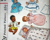 Vintage 1960s Doll Clothes Sewing Pattern, fits 24 inch Doll like Thumblina, Baby Dear, My Baby, Tiny Walker, Blessed Event, Cuddle Lee